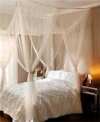 WHITE OR ECRU ELEGANT ROMANTIC SHEER BED CANOPY FITS ALL BED SIZES ...