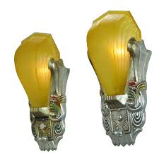 art deco antique polychrome wall sconces amber slip shades riddle shade ant outdoor cable protector old industrial lighting black taper candle holders