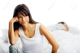 Men And Women In Bedroom Couple Fighting In Bed Woman Upset Thinking And Man Sleeping