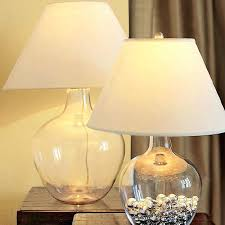 glass bottle table lamp north country blown glass bottle and flax shade table lamp ginger caledonia