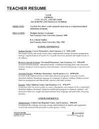 Resume Cover Letter Sample Of Resume For Teachers Teacher Job