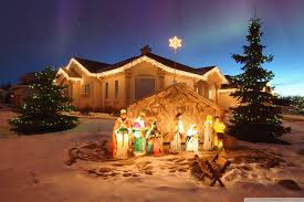 scene in large outdoor nativity thrifty