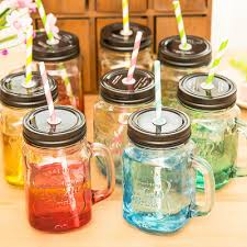 Vintage 16OZ Mason Jars Drinking Jars Cold Drinking Bottle Glass Mug with  Cover and straw for