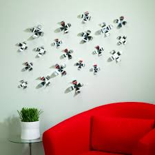 umbra wallflower wall decor white set:  decoration in living room areas with colourful wallflowers by umbra large size