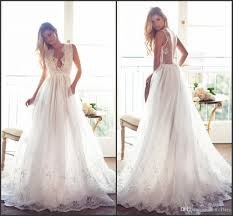discount romantic summer sexy wedding dresses 2017 plunging v neck