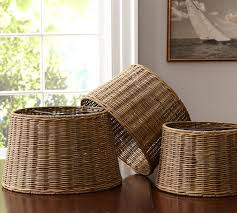 woven wicker tapered drum lamp shade