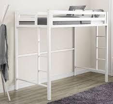 bentley twin metal loft bed in white