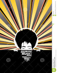 Funky Music Poster With Cool Man With Headphones Illustration