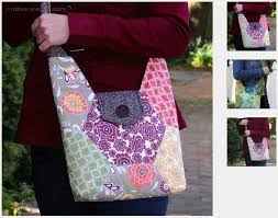 189 best Quilted Handbags images on Pinterest | Stitching, Bag ... & Hexie Hipster Bag - PDF Sewing Pattern Adamdwight.com