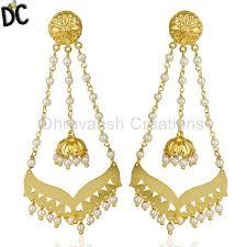 designer jewelry pearl strings 18k gold plated brass jewellery chandelier earring traditional brass jewelry