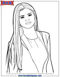 Selena Gomez With Long Hair Coloring Page H M Coloring Pages