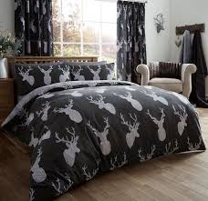 vintage stag head print duvet quilt cover deer antlers bedding set black silver