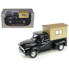 1956 Ford F-100 Pickup Truck Black With Camper 1/32 Diecast Model ...