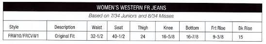 Wrangler Fr Womens Jean Sizing