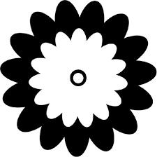 白黒モノクロの花のイラストフリー素材花一輪no638シンプル