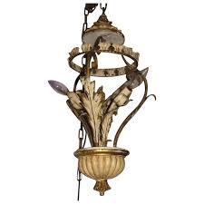 vintage italian tole chandelier floine metal wood