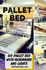 diy pallet bed with headboard bedroom headboard lighting