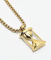 vitaly hourglass pendant gold necklace