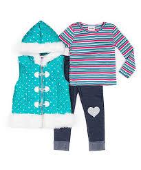 Little Lass Teal White Puffer Vest Set Toddler Girls