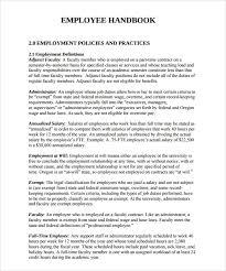 Free Employees Handbook Sample Employee Handbook 9 Documents In Pdf