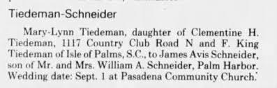 James Avis Schneider and Mary Lynn Tiedeman - Setting Wedding Date -  Newspapers.com