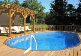 above ground pools with decks around them and with gazebo for medium space
