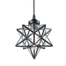 yobo lighting clear glass moravian star pendant lights chandelier 8 inch