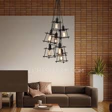 industrial style lighting fixtures home. modern 7light square shaped shade industrial style lighting fixtures home