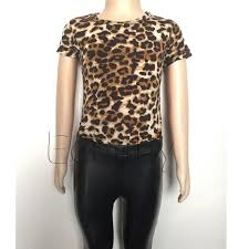 kids girls clothes set leopard printed t shirt pu skinny leather pants legging