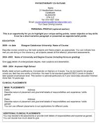 free physiotherapy cv outline for pdfphysiotherapy cv outline