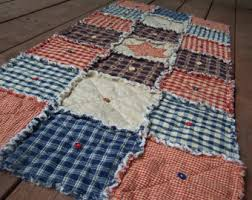 Rag quilt runner   Etsy & Frontier Primitive Homespun Rag Quilt Table Runner Buttons and Stars,  Primitive Country, Americana Farmhouse Adamdwight.com