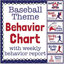 Behaviour Clip Chart Baseball Theme Behavior Clip Chart