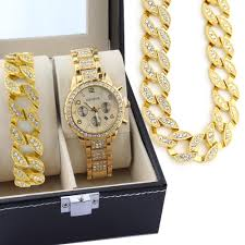 18k gold mens iced out jewelry 3pc set watch bo