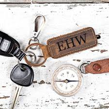 engraved genuine leather keychain