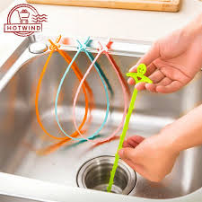 HW 51cm Kitchen <b>Bathroom</b> Sink Pipe Drain Cleaner Hook Pipeline ...