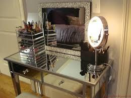 mirrored makeup vanity set with mirror and cool vanity light