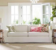 york slope arm slipcovered grand sofa 95 down blend wrapped cushions sunbrella r performance chenille fog