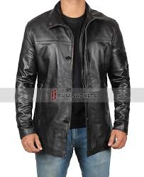 mens leather black carcoat retro leather jacket leather jacket coat ons