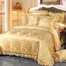 2017 bedding set luxury jacquard white golden bedding king size duvet cover bed sheet cotton wedding