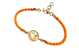 om bracelet on nylon thread with gold plated adjule silver lock for girls