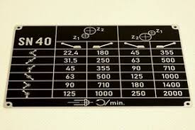 Details About Chart Of Speeds For Tos Sn 40 Lathe
