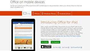 Free Microsoft Office For Your Smartphone And Tablet One Page