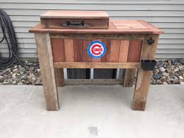 reclaimed lumber patio cooler by