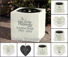 personalised remembrance side memorial ornament flower vase stone plaque