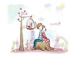 Romantic cartoon pictures love
