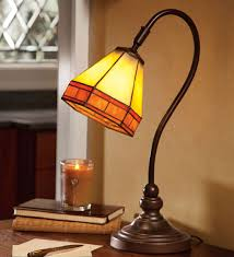 tiffany style stained glass mission style desk lamp