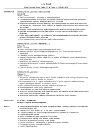 Download Mechanical Assembly Resume Sample as Image file