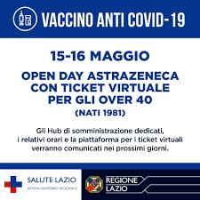 Vaccini Covid, 15 e 16 maggio open day nel Lazio per gli over 40. A Roma 21  hub interessati