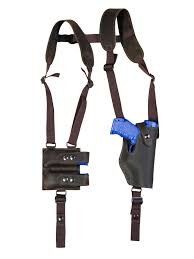 details about new brown leather vertical shoulder holster w mag pouch ruger compact 9mm 40 45