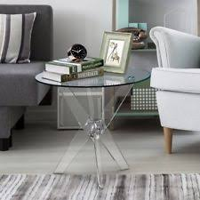 Clear Acrylic 3 Leg Side Table Modern Furniture Design Round Glass Top End  Table